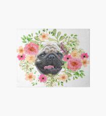 Pug Pink Tongue Floral Wreath Art Board