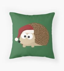 Christmas Hedgehog wearing A Santa Hat Throw Pillow