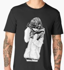COLD (Black and White) - Sad Japanese Aesthetic Men's Premium T-Shirt