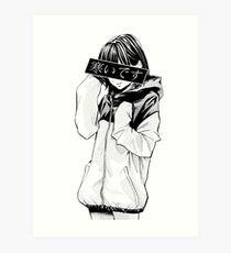COLD (Black and White) - Sad Japanese Aesthetic Art Print