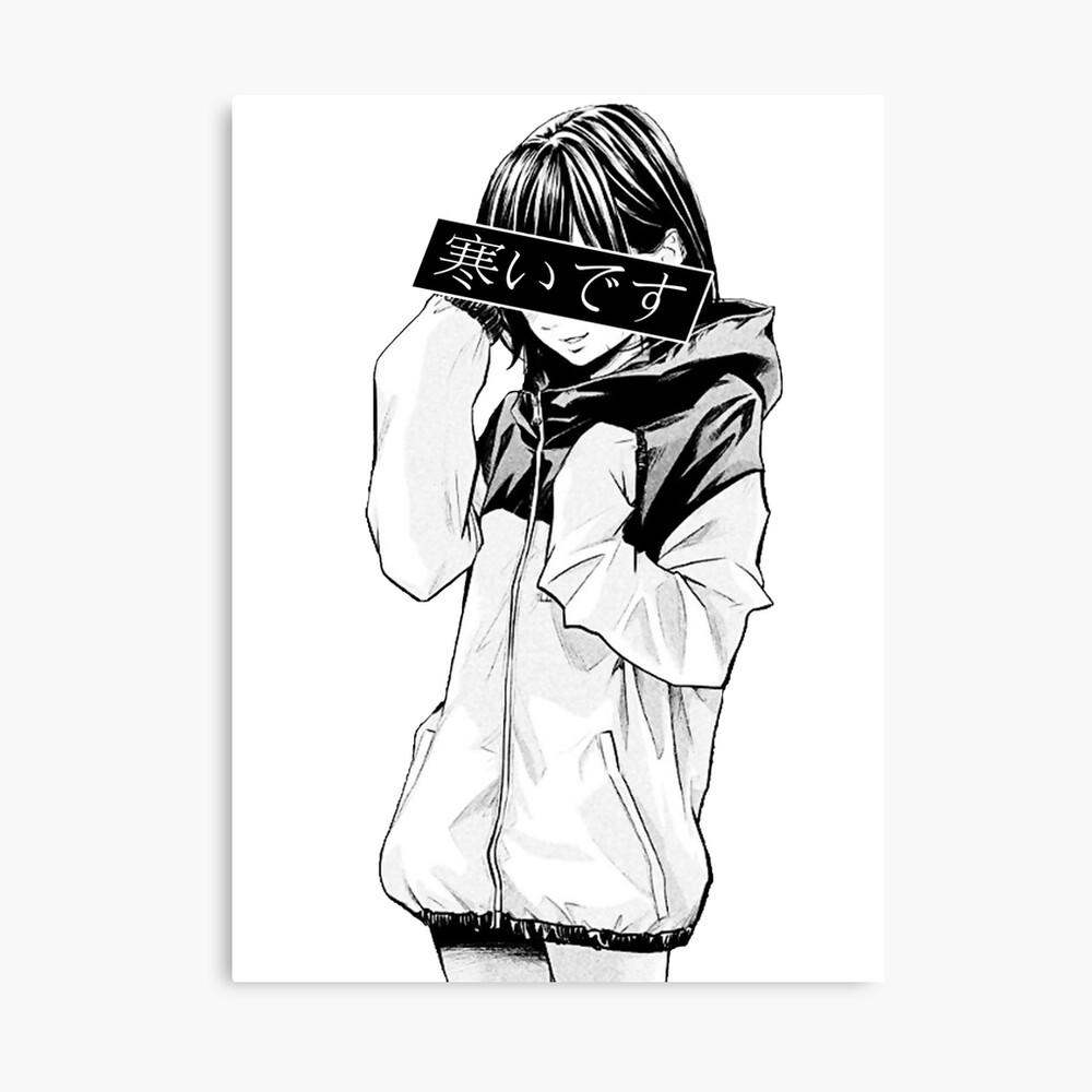 KALT (schwarz und weiß) - traurig japanische Ästhetik Leinwanddruck