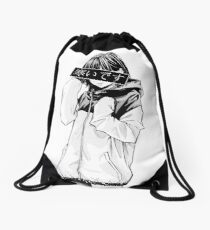 COLD (Black and White) - Sad Japanese Aesthetic Drawstring Bag