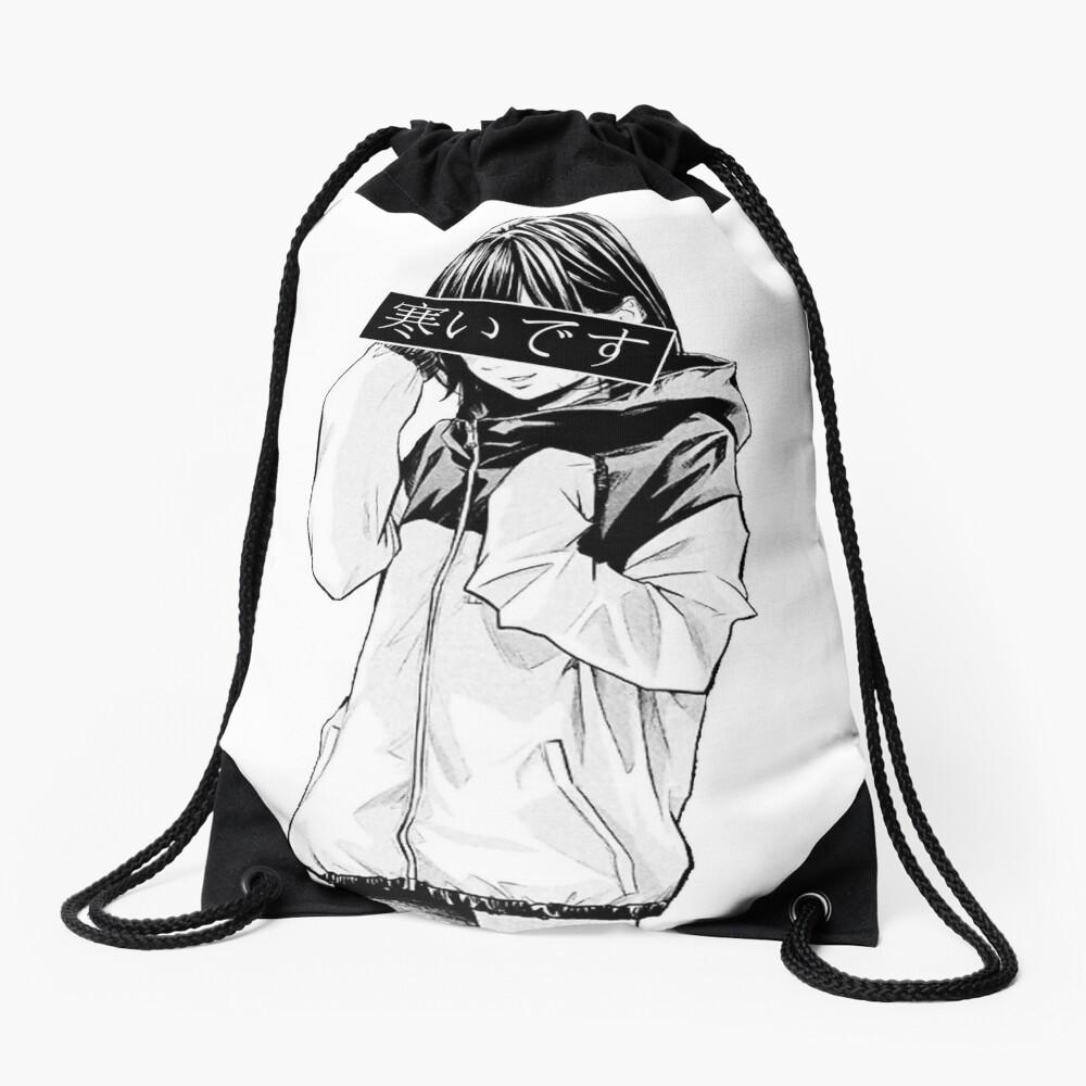 COLD (Black and White) - Sad Japanese Aesthetic Drawstring Bag
