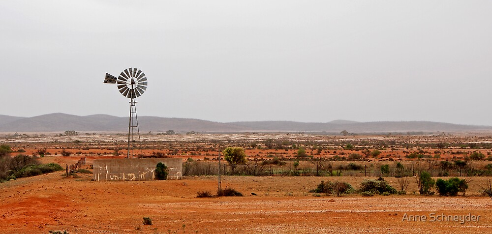 Outback windmill by Anne Schneyder