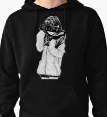 COLD (Black and White) - Sad Japanese Aesthetic Pullover Hoodie