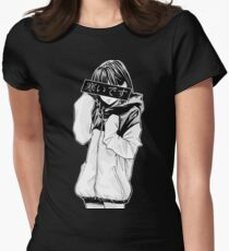 COLD (Black and White) - Sad Japanese Aesthetic Women's Fitted T-Shirt