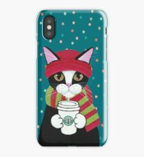Christmas cats drinking coffee iPhone Case/Skin