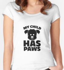 My Child Has Paws - Black Women's Fitted Scoop T-Shirt