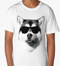 Cool Siberian Husky with Sunglasses Long T-Shirt