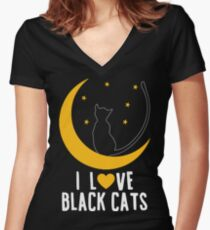Cute I Love Black Cats Women's Fitted V-Neck T-Shirt