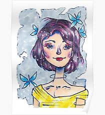 Galactic Butterfly Girl Poster