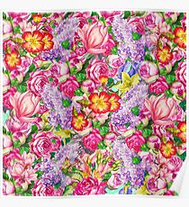 Colorful Flowers Pattern - Cool Girly Floral Design Poster