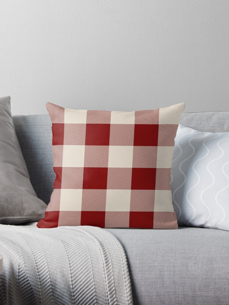 Dark Red Throw Pillows.Buffalo Check Dark Red And Vintage White Plaid Wide Stripes Throw Pillow By Rewstudio