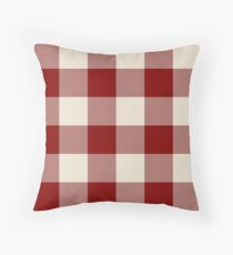 Buffalo Check Dark Red And Vintage White Plaid Wide Stripes Throw Pillow