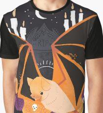Familiar - Orange Painted Bat Graphic T-Shirt