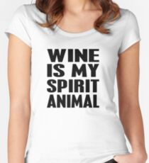 Wine Is My Spirit Animal Women's Fitted Scoop T-Shirt