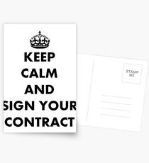 Keep Calm and Sign Your Contract Postcards