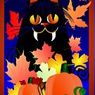 Black Halloween Kitty And Pumpkins by Lotacats