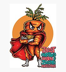 The Angry Carrot / Foodietoon SuperHero / Just Awesome Photographic Print