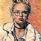 Felicity, city woman  Oil on composition board 50x40cm framed by Elizabeth Moore Golding