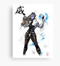 Aria from Mass Effect sumi and watercolor style Canvas Print