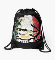 Gold and Silver Mexican Coat Of Arms Drawstring Bag