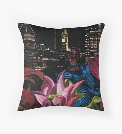 Fish and Flowers (Black/Pink) Throw Pillow
