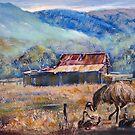 Emus in Australian rural landscape by Ryn  Shell