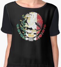 Gold and Silver Mexican Coat Of Arms Women's Chiffon Top