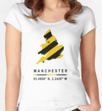 Manchester GPS Bee Map Women's Fitted Scoop T-Shirt