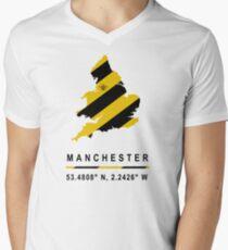 Manchester GPS Bee Map Men's V-Neck T-Shirt