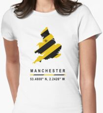 Manchester GPS Bee Map Women's Fitted T-Shirt