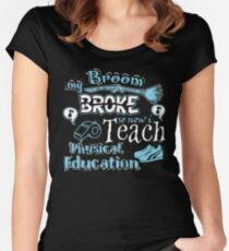 My Broom Broke So I Teach Physical Education Halloween Design Women's Fitted Scoop T-Shirt