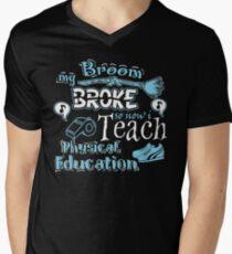 My Broom Broke So I Teach Physical Education Halloween Design T-Shirt