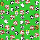Cartoon Footballs, Red & White Stripe Shirts, & Fans by Nigel Sutherland