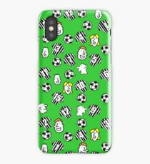 Cartoon Footballs, Black & White Striped Shirts, & Fans iPhone Case/Skin