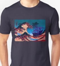 Ghost Pirate Ship Rides The Great Wave T-Shirt