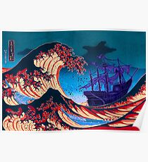 Ghost Pirate Ship Rides The Great Wave Poster
