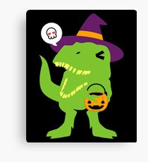 Trick or Treat T-rex Canvas Print