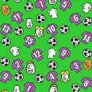 Cartoon Footballs, Claret & Blue Striped Shirts, & Fans by Nigel Sutherland