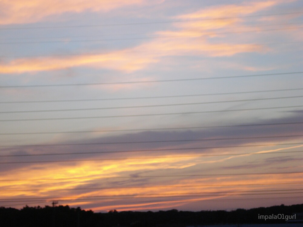 Sunset and Power Lines by impala01gurl
