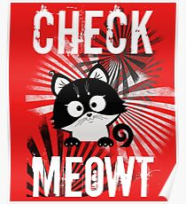 Womens Funny Cat Check Meowt Design  Poster