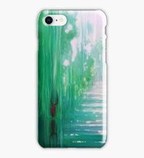 Emerald Hart - a green forest, river and red stag iPhone Case/Skin