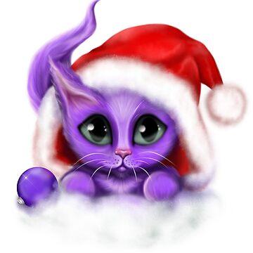 Purple Kitty Meowy Christmas by karlajkitty