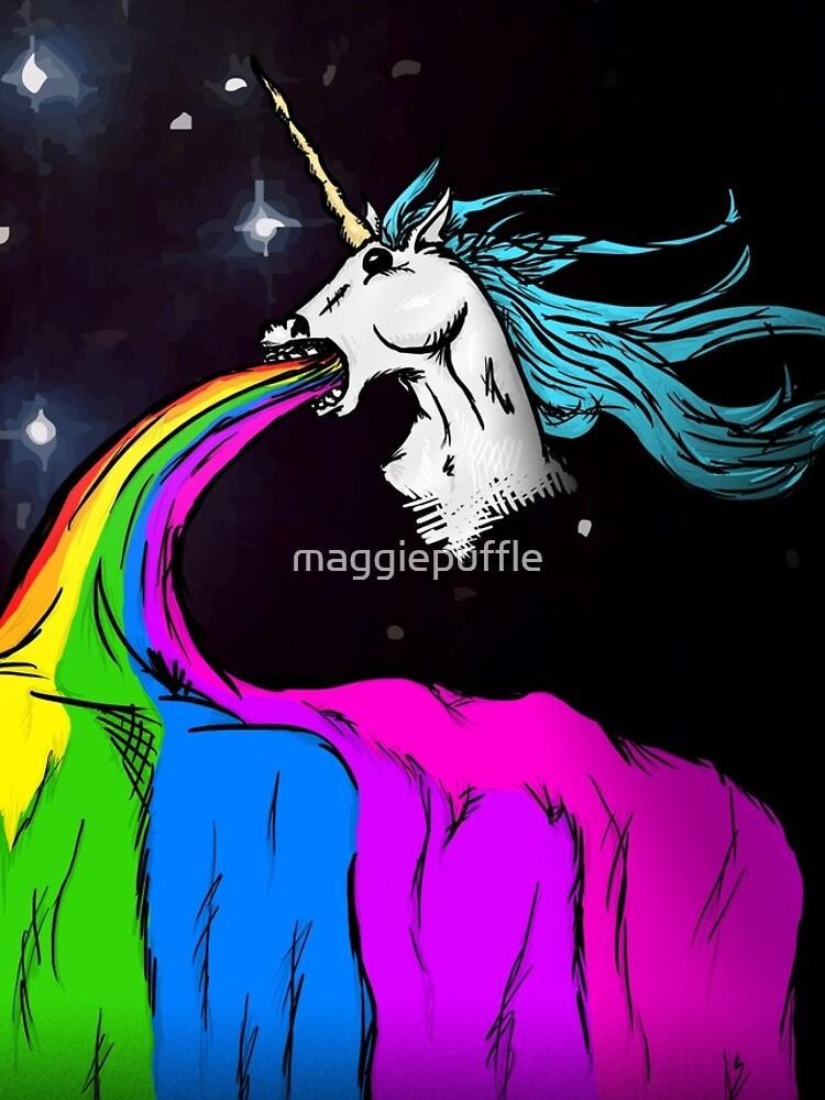 Unicorn puking rainbow by maggiepuffle