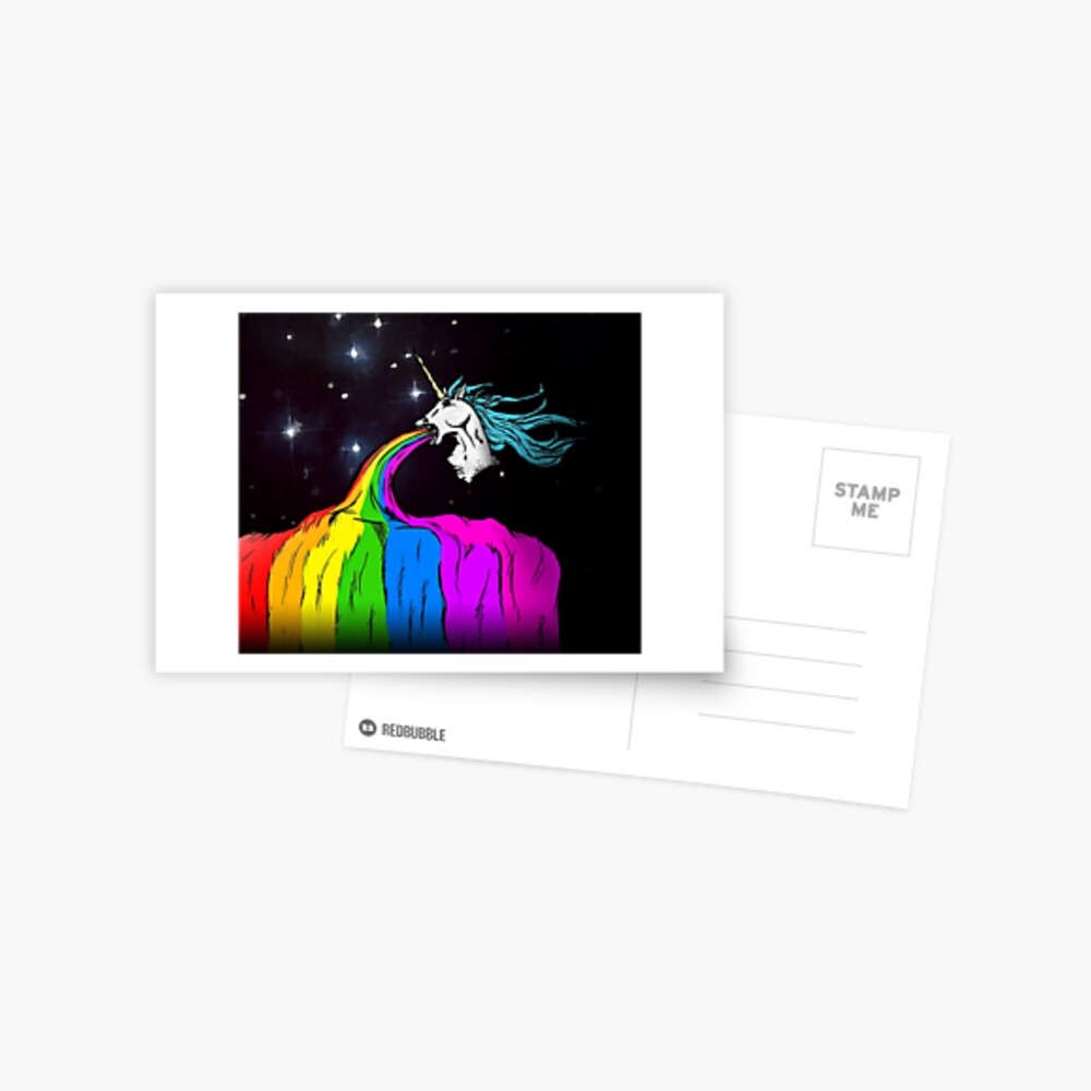 Unicorn puking rainbow Postcard