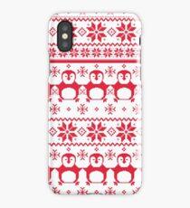 Red Scandinavian Penguin Holiday Design iPhone Case/Skin
