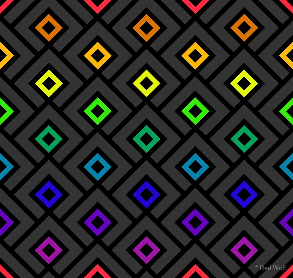 Geometric Pattern: Layered Diamonds: Rainbow Dark by * Red Wolf