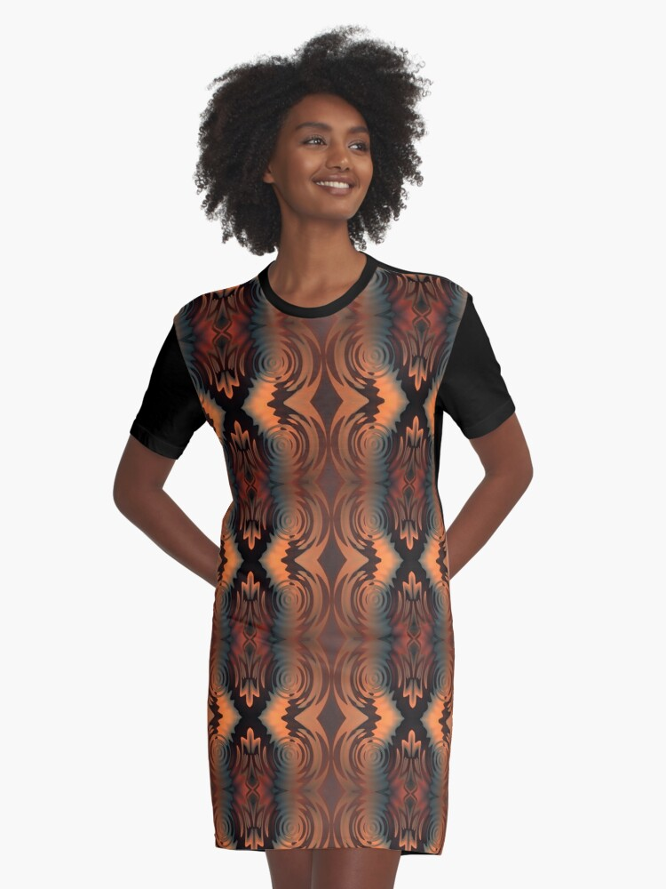 Fall is Here Vertical Pattern Graphic T-Shirt Dress Front