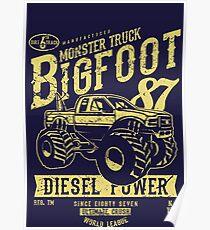 Monster Truck Retro Vintage Poster